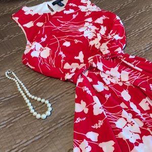 Chaps dress, red & white print, size XL